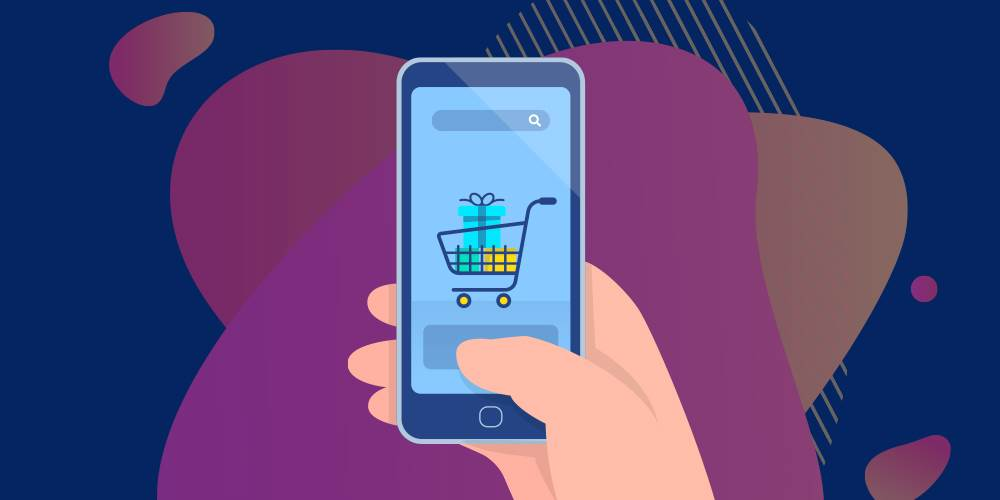 illustration of a shopping cart on a phone