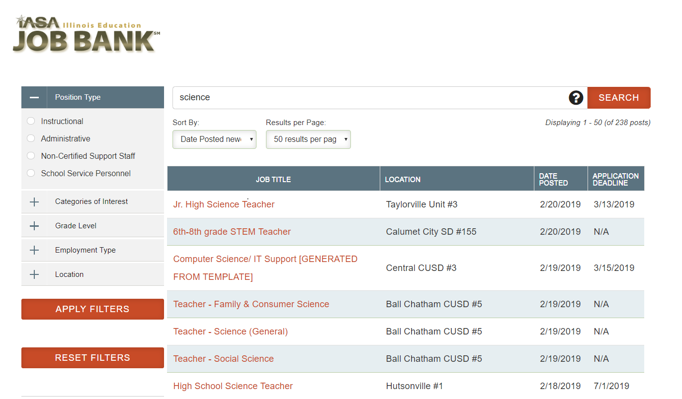 IASA's job bank uses LRS Antilles listbuilder.