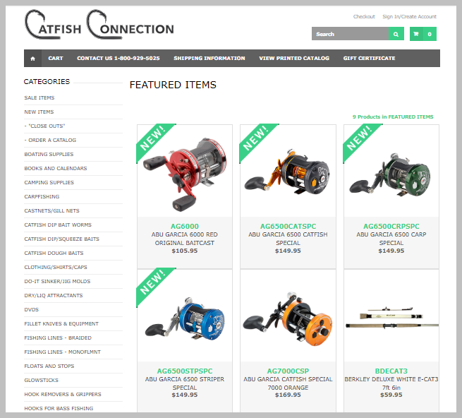 Dashboard of the Catfish Connection Ecommerce Store from LRS Antilles