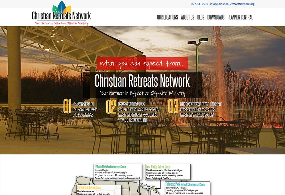 Christian Retreats Network before the website redesign